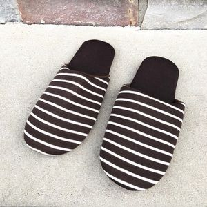 Other - NWOT Cozy striped brown / white slippers